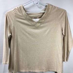 Nice woman 3X Basic Editions Beige Sparky Top